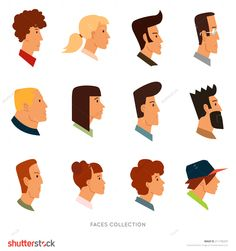Collection of colored flat avatars with different human heads. Vector icons set. Logo templates.