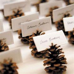 New wedding winter pine cones place cards 20 Ideas Christmas Wedding, Fall Wedding, Christmas Time, Rustic Wedding, Christmas Crafts, Elegant Wedding, Xmas, Trendy Wedding, Cottage Wedding