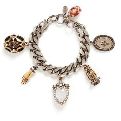 Alexander Mcqueen Vintage effect charms bracelet (127180 RSD) ❤ liked on Polyvore featuring jewelry, bracelets, accessories, metallic, owl charm, dangle charms, owl bangle, skull jewelry and charm jewelry
