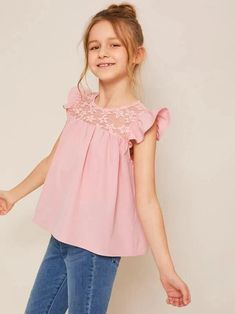 To find out about the Girls Lace Yoke Ruffle Armhole Smock Top at SHEIN, part of our latest Girls Blouses ready to shop online today! Pastel Fashion, Pop Fashion, Fashion News, Girl Fashion, Fashion Outfits, Fashion Trends, Kids Outfits, Cute Outfits, Summer Cap