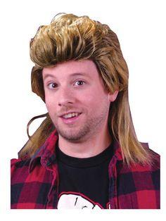 Mens Rocker 80s Mega Mullet Wig Blonde Brown 1980s King Fancy Dress Accessory