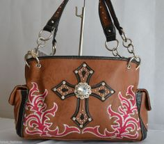 NEW WESTERN BROWN HOT PINK EMBROIDERY RHINESTONE CROSS TOOLED SATCHEL PURSE BAG #Unbranded #Satchels