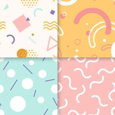 Memphis pattern collection Free Vector Discover thousands of free-copyright vectors on Freepik Memphis Design, Kids Patterns, Print Patterns, Conception Memphis, Vector Pattern, Pattern Design, Marco Polaroid, Watercolor Paper Texture, Memphis Pattern