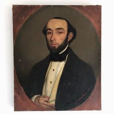 A superbly characterful French Portrait of a gentleman dressed up in his tuxedo. The artist has captured his expression so beautifully; this would have been a commissioned portrait by the. Tuxedo, Vintage Art, Oil On Canvas, Gentleman, Portraits, Charmed, French, Artist
