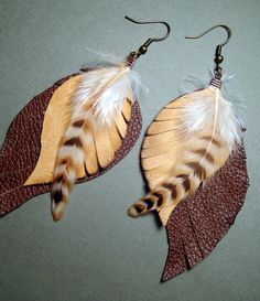 Petite FeatheredLeatherEarrings by GirlCandyDesigns on Etsy, $24.95