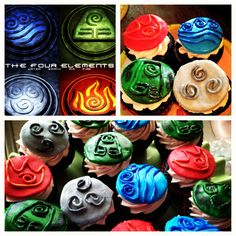 Avatar- the last airbender cupcakes I made! Top left was my inspiration picture.