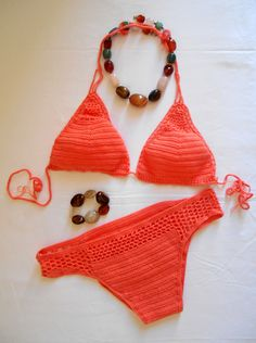 Bikini crochet couleur corail - 68,50 €