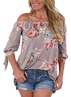 984f654d07be AlvaQ Women Chiffon Summer 3 4 Sleeve Tunic Sexy Casual Floral Party Tops  Juniors T Shirt Plus Size Khaki