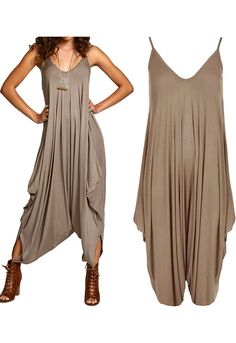 Strappy Harem Jumpsuit in Mocha | Missrebel