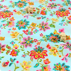 Buy cotton fabric - blue Flowers Fat Quarter FQ £3.25 | My Fabric House