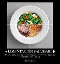 #Comida #AlimentacionSaludable La mitad de tu plato debe tener #Verduras, la otra mitad se divide entre #Proteinas y #Cereales. vía @candidman