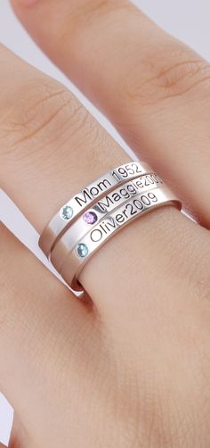 Stackable Name Ring -Let your stack represent your family! Together or apart for your option. Personalize rings with the names and birthstones of your dearest .Check more from getnamenecklace.com