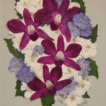 Memorial Flowers Preserved Forever! Pressed Flower Art from Larkspur, and Orchids! www.pressedgarden.blogspot.com