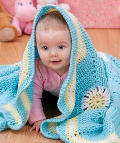 """Pretty color combination in this """"Hexagon Baby Blanket""""...free pattern!"""