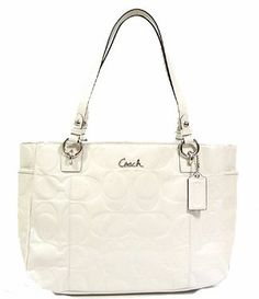 Coach Embossed Patent Leather Large Gallery E/W Tote Bag 17729 Ivory White
