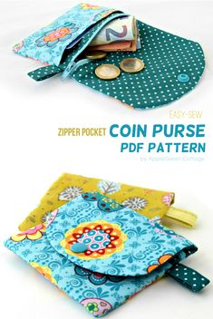Best 11 Coin purse sewing pattern with zipper. A cute little coin purse PDF pattern complete with beginner friendly instructions. Get your pattern here! Coin Purse Pattern, Purse Patterns, Sewing Patterns Free, Free Sewing, Wallet Pattern, Coin Purse Tutorial, Easy Sewing Projects, Sewing Projects For Beginners, Sewing Hacks
