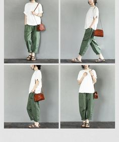 Cotton Green Pants Daily Leisure Causel Trousers Women Clothes L927