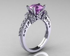 Luxurious and rich, the new Classic 14K White Gold 1.0 CT Lilac Amethyst Solitaire Wedding Ring R203-14KWGLA evokes absolute glamour and elegance, making it an ideal bridal jewelry piece.    For more versions on R203 style visit my Natures Nouveau Etsy Shop at http://www.etsy.com/shop/NaturesNouveau   Includes: * 1 x over 5.0 grams TW (approx) of cast solid 14K white gold ring size 7 (sizable)  * 46 x round 0.010 carat (0.46 CTW) laboratory grown lilac amethyst stones  * 1...
