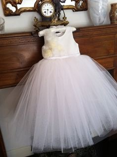 Flower girl dress with romantic tutu skirt. Fully lined. Tutu bridesmaid dress. Tulle flower girl dress. $110.00, via Etsy.