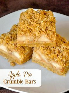 Apple Pie Crumble Bars. All the wholesome flavour of an apple crumble pie in a cookie bar form. They freeze well too for Holiday baking. These crumble bars are a great recipe to help use up all those fall apples and one that my kids absolutely love. They really do taste like delicious little bites …
