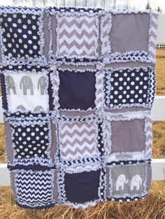 Elephant Baby Boy Crib Bedding Chevron, and Polka Dot, Blanket in Navy Blue and Gray Quilt Made to Order