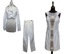 Before: White Jeans + old jacket. After: dress decorated with sea stones.