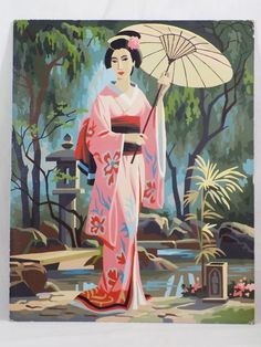 Paint By Number Geisha Girl with Umbrella 16 x 20  #Realism
