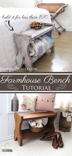 Build A Farmhouse Bench for Less than $20 - DIY Tutorial by Prodigal Pieces www.prodigalpieces.com #prodigalpieces