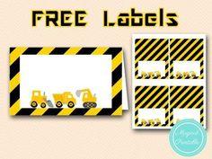 free construction party food labels-table-labels-tent-labels tlc20                                                                                                                                                     More