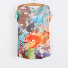 WAIBO BEAR zootopia Women's T-shirt summer tees top Thin style Cute rabbit Judy print batwing sleeve