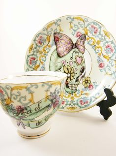 Green Sugar Skull Vintage Tea Cup and Saucer Set by LittleLalaShop.....I WANT!!!!
