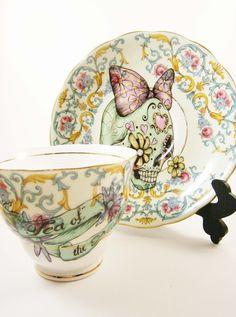 Green Sugar Skull Vintage Tea Cup and Saucer Set by LittleLalaShop.....I WANT!!!!