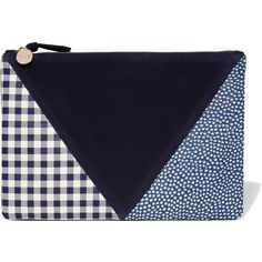 Clare V Patchwork printed leather and suede clutch (1475530 PYG) ❤ liked on Polyvore featuring bags, handbags, clutches, suede handbags, genuine leather handbags, patchwork leather purse, blue purse and navy blue leather handbags