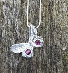 Sterling Silver Butterfly Pendant with Pink by SilverbirdDesignsUK, £35.00