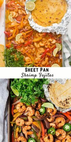 Shrimp Recipes, Fish Recipes, Mexican Food Recipes, Healthy Recipe Videos, Healthy Recipes, Keto Recipes, Shrimp In The Oven, Shrimp Fajitas, Baked Vegetables