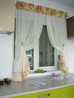 Shabby Chic Kitchen Curtains, Country Kitchen Curtains, Elegant Curtains, Beautiful Curtains, Cream Curtains, Curtains With Blinds, Valance Window Treatments, Techniques Couture, Curtain Designs