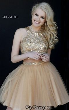 Sherri Hill 32289 Gold Two Piece Beads Tulle Prom Dress