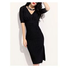 Black Stripe V Neck Bow Waist Side Slit Bodycon Dress (125 AED) ❤ liked on Polyvore featuring dresses, kohl dresses, black dress, side slit dress, body con dress and black body con dress