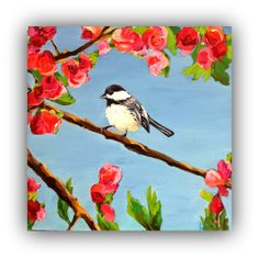 Spring has Come  Original Oil Painting  bird by ARTbyDanaC on Etsy, $125.00