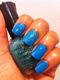 Kleancolor Sparkle Emerald over OPI Ogre-The-Top Blue