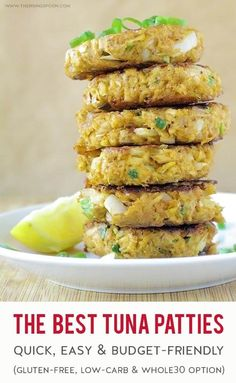 A quick, easy & healthy recipe for The Best Tuna Patties that are crunchy on the outside, tender on the inside and bursting with tons of flavor from budget friendly ingredients. Fix these tuna cakes on the stovetop in only 25 minutes start to finis Tuna Recipes, Seafood Recipes, Gourmet Recipes, Dinner Recipes, Cooking Recipes, Kitchen Recipes, Gluten Free Recipes, Appetizer Recipes, Appetizers