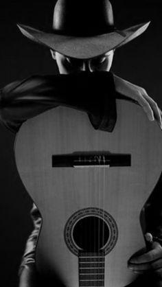 Portrait - Black - Photography - Portrait - Guitar - Hat - Pose
