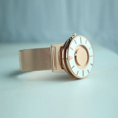 The iconic Bradley watch is now available in a new, feminine colour – dusky pink rose-gold. Dezeen Watch Store, Uniform Wares, Larsson & Jennings, Rose Gold Watches, Watches For Men, Feminine, Jewellery, Colour, Accessories