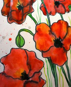 Looking for a poppy themed art project for the art journal….or maybe the bulletin board. This is a very easy poppy project, . Fall Art Projects, Classroom Art Projects, Art Classroom, Craft Projects, Remembrance Day Activities, Remembrance Day Art, Watercolor Poppies, Poppies Art, Doodle