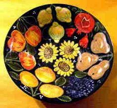 Fruit salad bowl an old pattern painted by artist Geoff Graham of Cinnabar Ceramics in Vallejo, California.