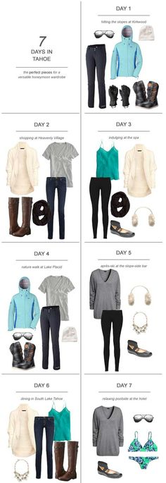 The first step to planning the ultimate Tahoe honeymoon wardrobe is knowing your itinerary and the weather conditions for the time of year you'll be visiting. Here's my tips and suggestions on packing for 7 days in Tahoe. Capsule Wardrobe, Travel Wardrobe, Ski Fashion, Look Fashion, Winter Fashion, Sporty Fashion, Ski Et Snowboard, How To Have Style, Winter Outfits