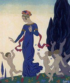 George Barbier (1882-1932) - French Art Deco Fashion Illustrator - 'Triplets'