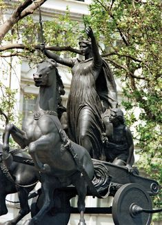 Queen Boudicca and her daughters statue in London.  London was sacked by this queen in the first century CE.