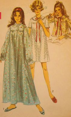 Vintage 60's Women's Nightgown and Bath Robe by Sutlerssundries, $6.99