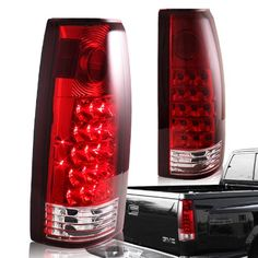 1988 - 1998 Chevy/GMC C10 Truck Chrome Housing Red Lens Altezza Style Rear Tail Lights